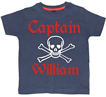 PERSONALISED CAPTAIN WITH NAME' 2-3 years Navy T-shirt with white and red print