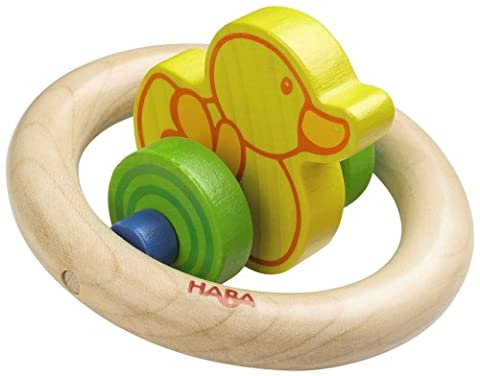 Haba Duck Duck Wooden Rattle Clutching Toy