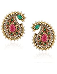 Royal Bling Stylish Party Wear Traditional Paisley Pink Pearl Delight Earring For Girls & Women