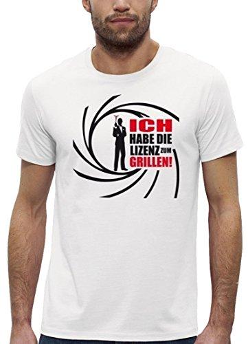 Grillen BBQ Premium Herren T-Shirt aus Bio Baumwolle ICH HABE DIE LIZENZ ZUM GRILLEN Stanley Stella White