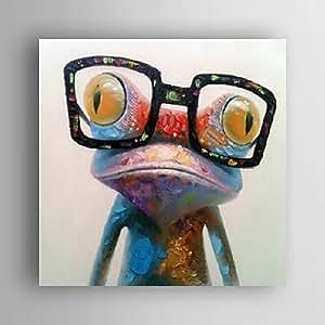 Aubaho peinture à l'huile motif grenouille main, moderne et abstraite strecthed toiles peintes avec cadre