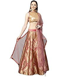 149666eac Inddus Pink Georgette Zari Woven Kalidar Lehengha with top and dupatta (Semi -Stitched)