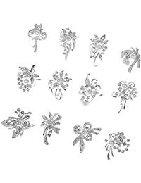 12pcs Broches de Perles Rondes pour Ornement de Vêtement Plaqué Or / Plaqué Argent