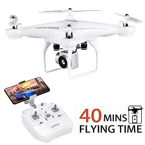 JJRC H68 RC Drohne Längere Flugzeit Fernbedienung Quadrocopter mit 720P Kamera FPV WiFi Hubschrauber mit 2 Batterien (20 Minuten + 20 Minuten), Höhenlage halten, Kopfloser Modus Beste Drohne (weiß)