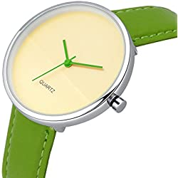 AIBI Waterproof Off-White Dial Large Case Fashion Green Strap Wrist Watch With Gift Box