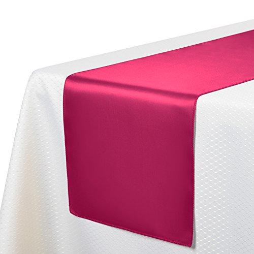 Veeyoo Tischläufer, Satin ,30x 275cm, für Hochzeit, Party, Bankett, Textil, fuchsia, Einheitsgröße (Plaid Striped-shorts)