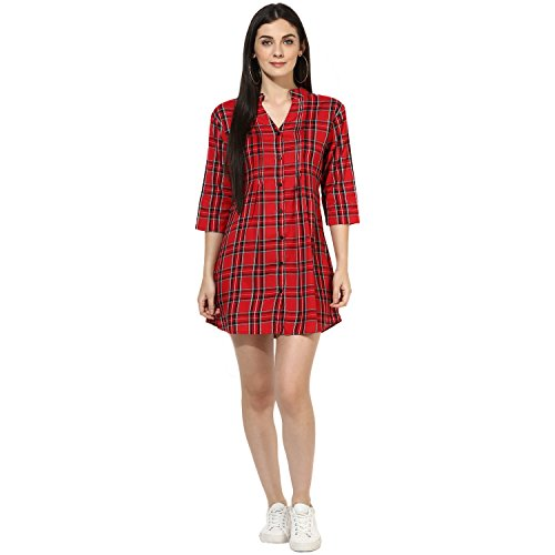 One Femme Women's Plaid Check Print Tunic (OFTNT012_Multicolor 28_Small)
