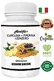 Herbfit Curcuma Piperina Zenzero | 120 Cps. Naturali Di Puro Estratto Di Curcumina (400 Mgr), Piperina (60 Mgr) Alta Concentrazione, Zenzero R.Ma | Antinfiammatorio-Antidolorifico-Antiossidante
