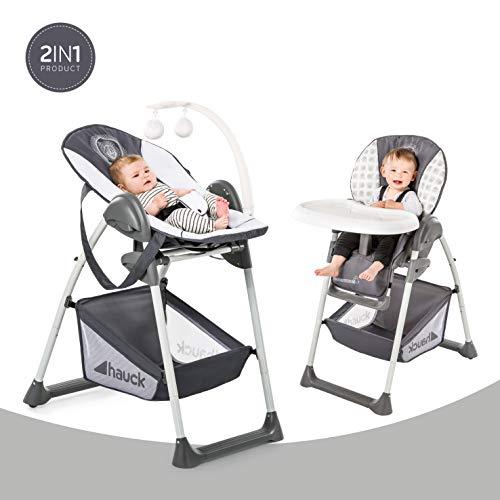 Hauck Sit'n Relax Newborn Set – Neugeborenen Aufsatz und Kinderhochstuhl ab Geburt, mit Liegefunktion / inkl. Spielbogen, Tisch / höhenverstellbar, mitwachsend, klappbar, Mickey Cool Vibes (Grau)