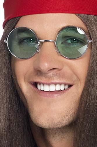 Smiffys Unisex 70er Jahre Hippie Brille, One Size, Silber 6795