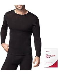 Lapasa Herren Merinowolle Unterhemden ❆ 100% MERINO WOLLE ❆ Thermo Oberteil Thermounterwäsche Langarmshirt Funktionswäsche für Ski Snowboard Outdoor Wandern Reisen [Geschenkbox]