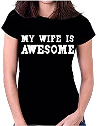 Snoogg My Wife is Awesome Casual Slogan / Black Colour Round Neck Printed Cotton T Shirt For Women