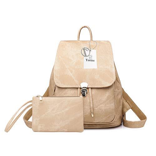 Yoome Damen PU Leder Rucksack 2 Stück leicht Vintage Niedlich Rucksack Mode Schule Wasserdicht Büchertasche