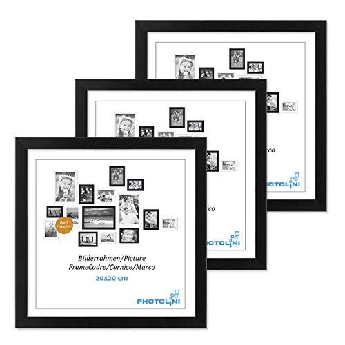 PHOTOLINI 3er Set Bilderrahmen 20x20 cm Modern Schwarz aus MDF mit Acrylglas/Portraitrahmen/Wechselrahmen (20x20 Bilderrahmen)