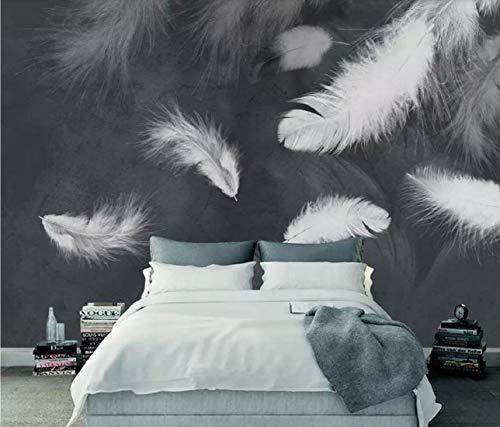 Papier Peint 3D Modern Simple Plume Blanche Télé Sofa Historique Mur Moderne Papier Peint Intissé Décoration Murale