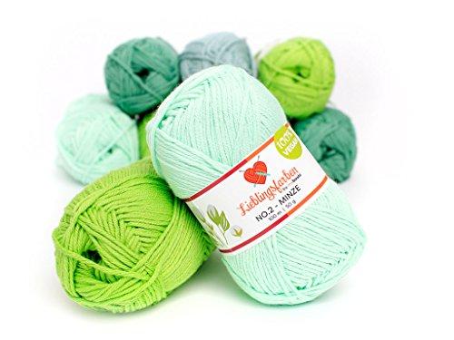 Lieblingsfarben Häkel- und Strickgarn: Farbe Minze: 100% pflanzliches, besonders leichtes Garn. 15% Kapok, 85% Baumwolle