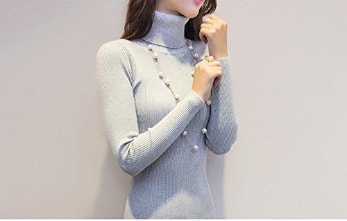 CRAVOG Damen winter pullover kleider schlank Rollkragen lange strickkleid sexy bodycon robe kleid wadenlang Grau