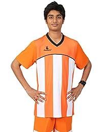 Triumph Men's Polyester Football Orange Stripe V Neck Uniform