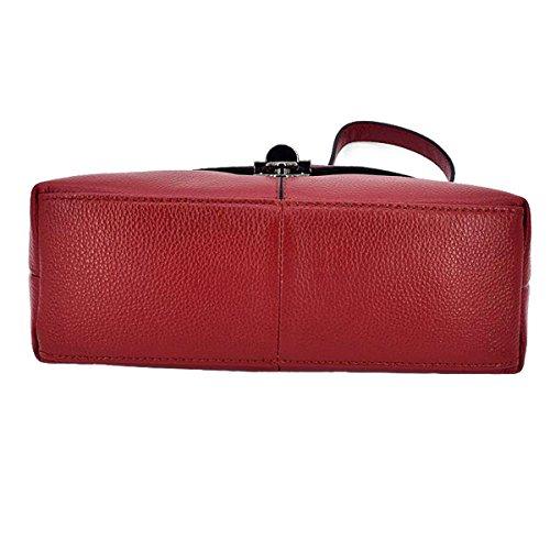 Borsa A Tracolla Signora Di Cuoio Di Modo, Multicolore Red