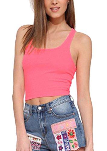 Lightweight Camisole (Damen Urlaub Slim Fit Tank Tops Camisole Crop Tops Ärmellos U Ausschnitt Trägerlos Normallacks Bauchfrei Top Young Fashion S-2Xl)
