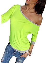 246c774e5cae1 Xiang Ru Femme Pull T-Shirt Une Épaule Manches Longues Top Vogue Confortable