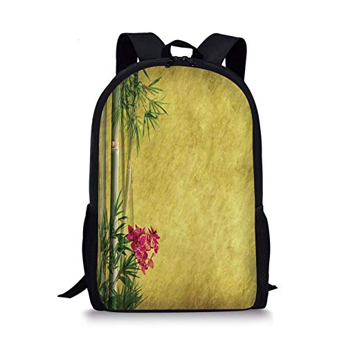 School Bags Bamboo,Wild Orchides with Bamboo Leaves on Old Antique Paper Floral Asian Style Art,Yellow Green Pink for Boys&Girls Mens Sport Daypack (Rolling Rucksack Floral)