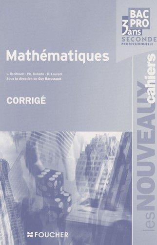 Mathématiques 2e Bac Pro : Corrigé
