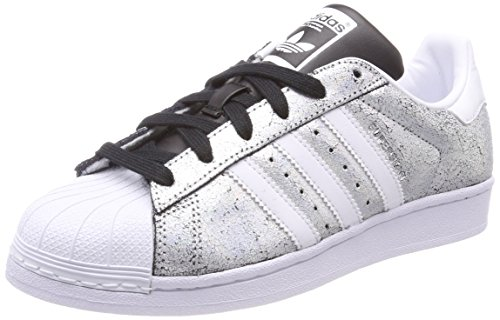 adidas Damen Superstar Gymnastikschuhe, Silber (Supplier Colour/Ftwr White/Core Black), 40 EU (Trefoil Damen Superstar Adidas)