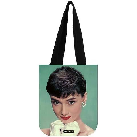 Artswow Audrey Hepburn Custom Eco reutilizable bolsa de lona bolso bolsa de la compra (dos lados), lona, multicolor8, 12.2