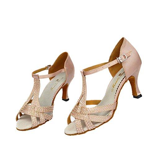 GUOSHIJITUAN [Frauen Latein Tanzschuhe,Diamant High Heels Dancing Schuhe [Leise Unten] Ballroom Dance Schuhe-A Fußlänge=25.3CM(10Inch)