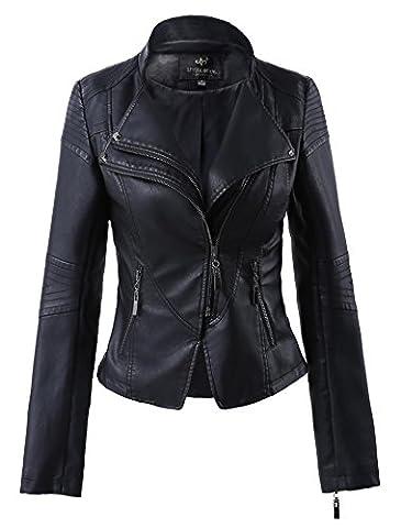 Women Slim Lapel Faux Leather Zip-Up Power Shoulder Bomber Moto Jacket Black