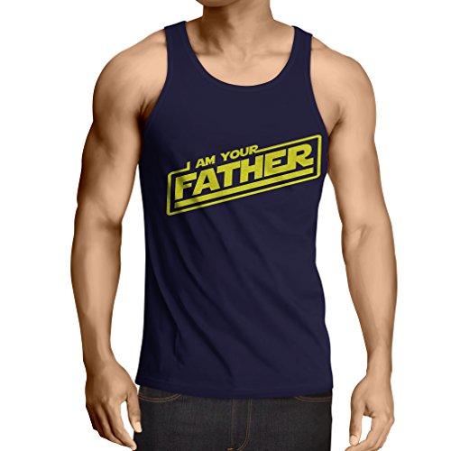 """Singlete """"Je suis ton père"""" Cadeaux de bâillon pour lui cadeaux pour papa,fête des pères (Large Bleu Multicolore)"""