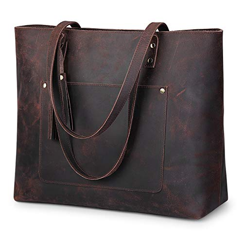 S-ZONE Damen vintage echtes leder-schulter-einkaufstasche für geldbeutel-hand mit rückseitigem reißverschluss-tasche groß dunkelbraun