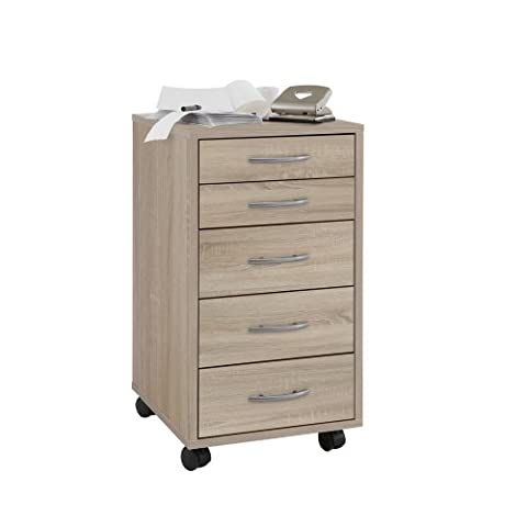 FMD Drawer Mobile Pedestal Freddy, 33.0 x 63.5 x 38.0 cm, Oak - mobili per ufficio
