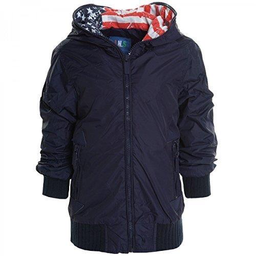 Kinder Jungen Jacke Mantel Kids Stepp Sweat Übergangs Jacke Blazer 20436, Farbe:Navy;Größe:140