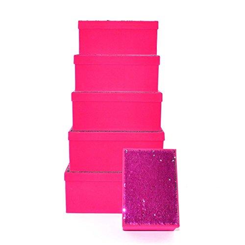 Gifts 4 All Occasions Limited SHATCHI-1305 - Cajas de almacenamiento con tapa de Shatchi (6 unidades), diseño de Navidad, multicolor