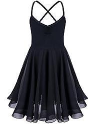 iEFiEL Justaucorps de Danse classique Fille T shirt Extensible Robe Sans Manches Mousseline Camisole Enfant 2-10 Ans