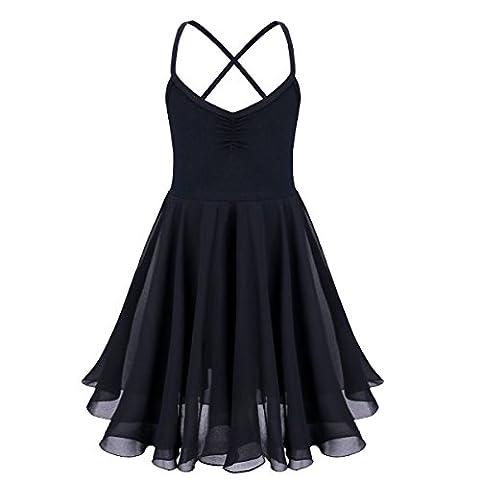 iEFiEL Justaucorps de Danse classique Fille T shirt Extensible Robe Sans Manches Mousseline Camisole Enfant 2-10 Ans Noir 7-8 ans