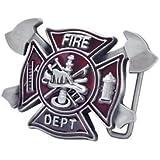 Alloy Fire Department Belt Buckle Red Resin Custom Design Fireman Rescue Costume