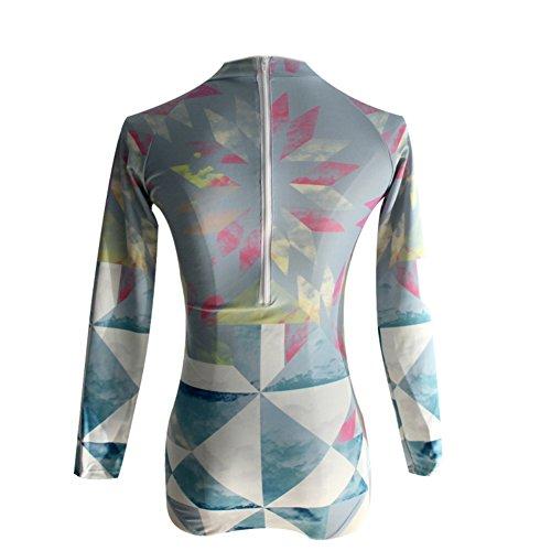 Moresave Donna manica lunga da surf indossare costumi interi push-up imbottiti da mare A-Style