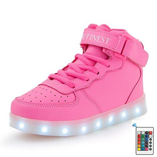 e High Top LED aufladen Schuhe blinken Fashion Sneakers for boys girls(Rosa,30) (Kostüme Für Halloween Günstig)