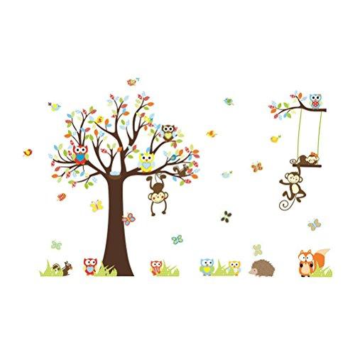 Toyvian Kinder Dschungel Wald Tier Thema Wandtattoo Unisex Aufkleber für Kinder Schlafzimmer Kindergarten Spielzimmer Wandbild