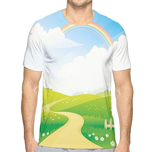 3D Printed T Shirts for Mens,Landscape Image Green Hills Road and Rainbow Nature Flowers Love Earth XL