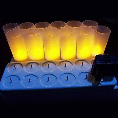 Batterie Jaune chaud LED bougie chauffe-plat Bougie avec givré support Tasses L (lot de 12)