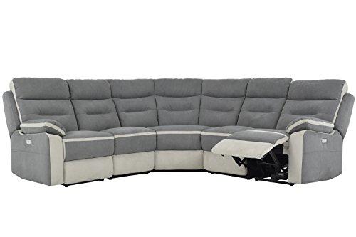 Meubletmoi divano di angolo di relax elettrico/famiglia 7coperti/poggiapiedi sollevabili, cartelle inclinabili/braccioli e têtières riempite di schiuma-collezione utah
