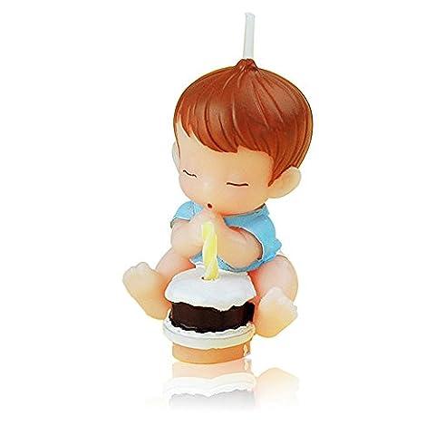 Wishing Baby Cartoon Birthday Candle, bougie de mariage, bougie sans gâteau Bougie pour fête, cadeau de charme, baby shower et mariage (Bleu)