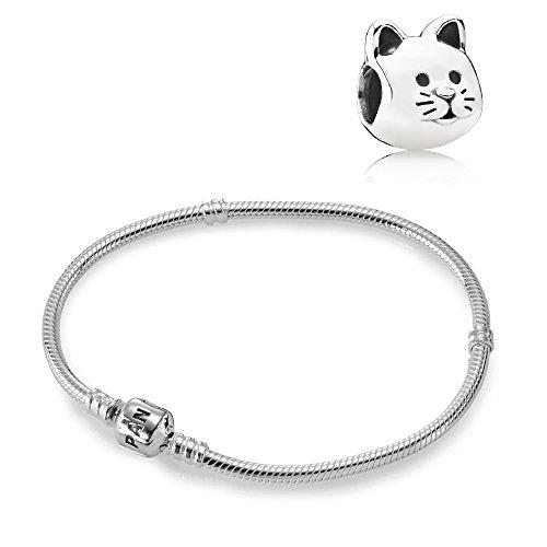 Pandora Original Geschenkset Starterset Armband 590702HV-19 + Charm 791706 Neugieriges Kätzchen -