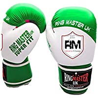 Ringmaster UK Adultos Guantes de Boxeo de Piel sintética, Color Verde y Blanco, Hombre Mujer, Green and White
