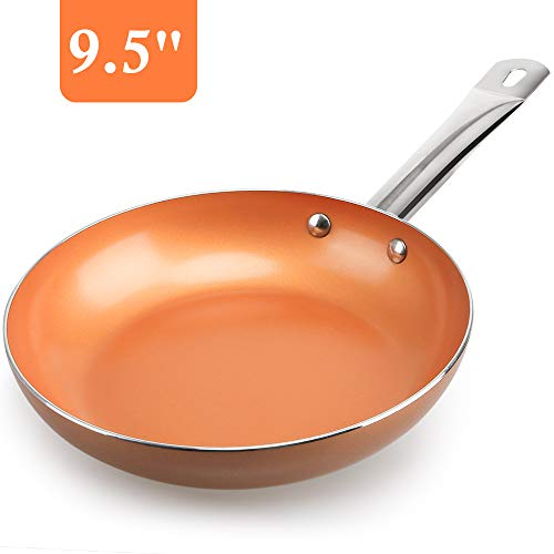 Shineuri 30,48 cm Antihaftbeschichtete Woks und Rührpfannen mit Deckel, Kupfer-Wok Pfanne mit Edelstahlgriff und Glasdeckel, spülmaschinenfest, PFOA/PTFE-frei 9.5'' Nonstick Frying Pan Non-stick Wok