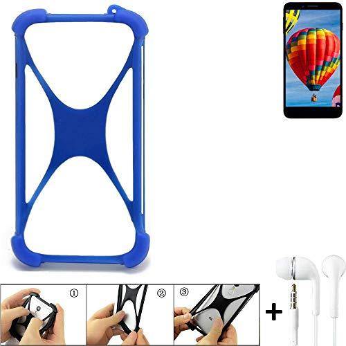 K-S-Trade Handyhülle für Vestel V3 5030 Bumper Schutzhülle Silikon Schutz Hülle Cover Case Silikoncase Silikonbumper TPU Softcase Smartphone, Blau (1x), Headphones